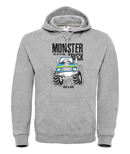 Hoodie - Monster Truck Cartoon Automobil - Kapuzenpullover Unisex für Kinder - Junge und Mädchen