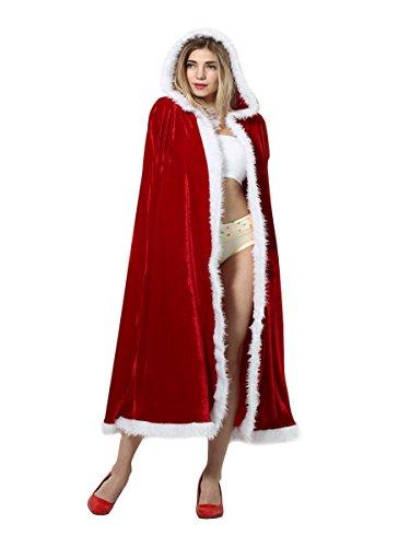 Yodensity Mantello di Natale con Cappuccio da Donna in Velluto Rosso Costume Cosplay per Masquerade Carnevale 110cm / 125cm / 140cm