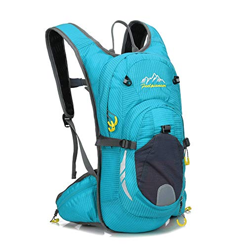JTRHD Hydration Pack Backpacks Cycling Backpack Waterproof Fabric Bicycle Bag Water Bag Hiking Outdoor Equipment Breathable Lightweight (Color : Blue, Size : 20 * 45 * 16cm)