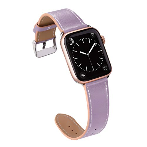 MARGE PLUS Compatible with Apple Watch Band 42mm 44mm, Genuine Leather Replacement Band Compatible with iWatch Series 5 4 (44mm) Series 3 2 1 (42mm) Sport and Edition, Lilac