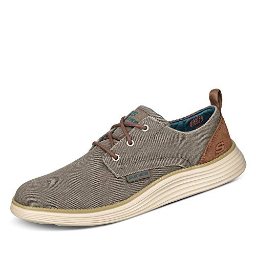 Skechers Men's Status 2.0 PEXTON Boat Shoes, Grey (Taupe Canvas TPE), 7 (41 EU)