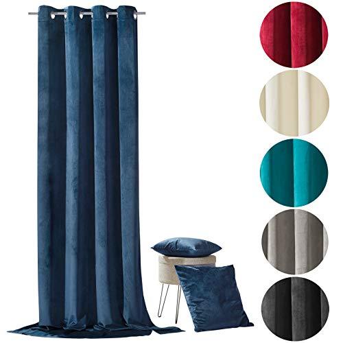 heimtexland ® Samt Ösenschal Samtvorhang Deko Gardine Vorhang Blickdicht 245x135 Typ641 (Nachtblau)