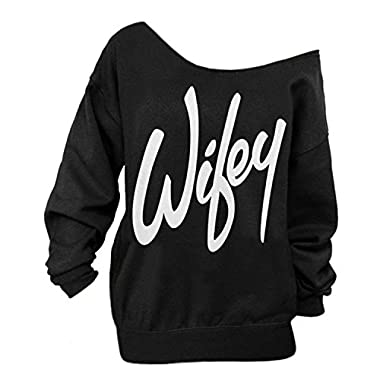 Begonia.K Women's Wifey Shirt Letter Print Off The Shoulder Slouchy Pullovers, Black, Medium