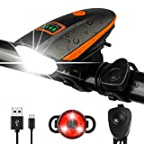 Bike Lights Set with Horn 1400LM USB Rechargeable Bicycle Headlight & Tail Light & Horn Waterproof 3 Lighting Modes Fits All Bicycles for Road and Mountain