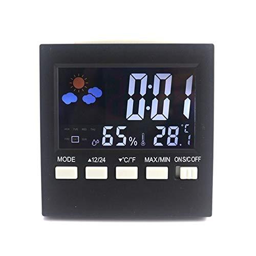 WBMKH LCD-Innenwetterstation Sound Control Digital CF Temperatur Luftfeuchtigkeitsmesser Wecker Schlummerkalender Funktion