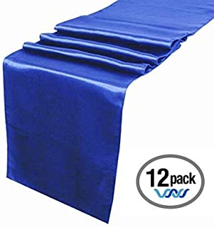 Wavewater Royal Blue Satin Table Runners 12-Pack (12 x 108 inch) Long, Elegant, Decorative Party Decor   Wedding, Banquet, Graduation, Business Events   Fits Rectangular & Round Surfaces