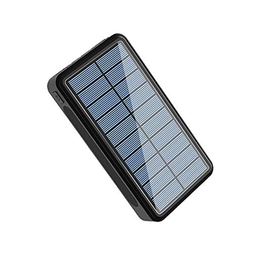 FANGZI Banca di potere20000mAh Solar Power Bank 4 USB Tipo C Caricatore Portatile Poverbank Ricarica con Torcia da Campeggio EsternaNera