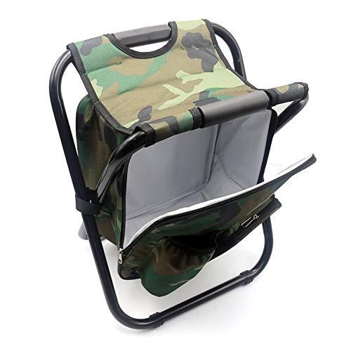 PPuujia Plegable camping taburete plegable camping Pesca silla taburete mochila con refrigerador aislado picnic bolsa senderismo camuflaje asiento mesa bolsa