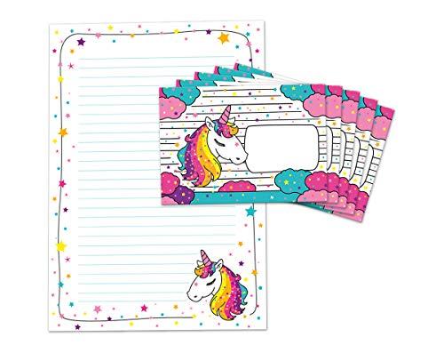 Briefblock mit Umschlag für Kinder Einhorn Briefpapier-Set (Block A4 mit 25 Blätter + 15 Umschläge)