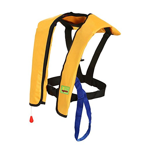 Premium Quality Automatic/Manual Inflatable Life Jacket Lifejacket PFD Floating Life Vest Inflate Survival Aid Lifesaving PFD Basic Yellow Color