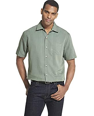 Van Heusen Men's Big and Tall Air Short Sleeve Button Down Poly Rayon Stripe Shirt, green deep forest, 3X-Large
