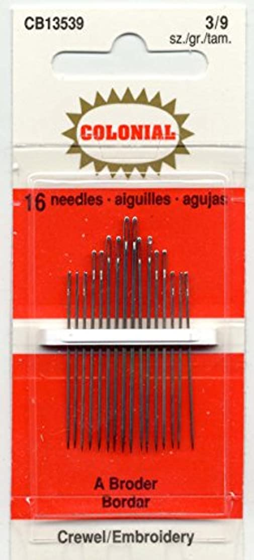 Colonial Needle CB135-3-9 16 Count Embroidery Needles, Size 3/9