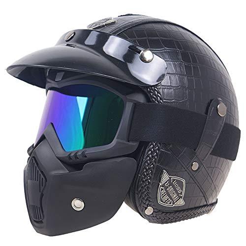 YOVYO Casco Caschi Mezzo in Pelle Moto Integrale/A Faccia Aperta Casco per Motore Adulto Uomo,con Occhiali Protezione Visiera Parasole, per Moto Ciclomotore DOT ECE Approvato