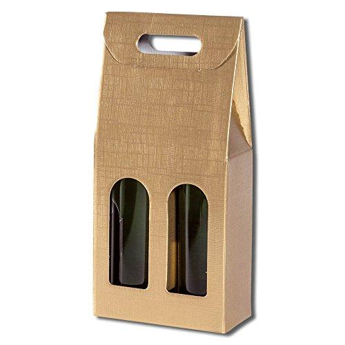 30x 2er Flaschentragekarton, Weinkarton Seta, Gold, Tragegriff, 34x17,5x9,5 cm