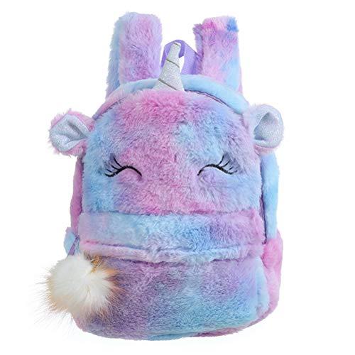 Macabolo Plush Unicorn Backpack Fluffy Unicorn School Bag Baby Kids School Bag Double Shoulder Bag for Nursery Girls Boys 22 x 10 x 30 cm