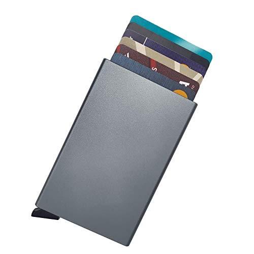 Cartera para tarjetas de crédito Pop Up, cartera tarjetero hombre porta tarjetas de credito, tarjetero rf, bloqueo RFID, elegante y delgado tarjetero bancario, diseño de mini caja metálica de aluminio