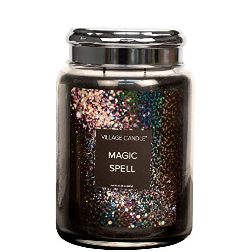 Village Candle Magic Spell 26 oz Large Glass Jar Scented Candle, 21.25 Net oz Vela, Negro