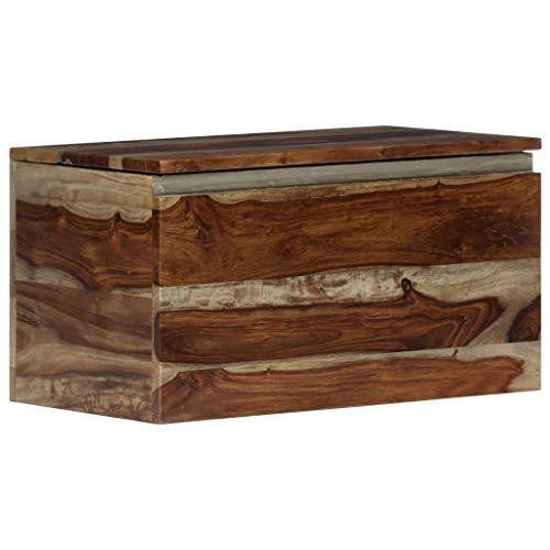 vidaXL Sheesham-Holz Massiv Aufbewahrungstruhe Holztruhe Couchtisch Beistelltisch Schatztruhe Schatzkiste Holzkiste Truhe Sitztruhe 57x30x30 cm