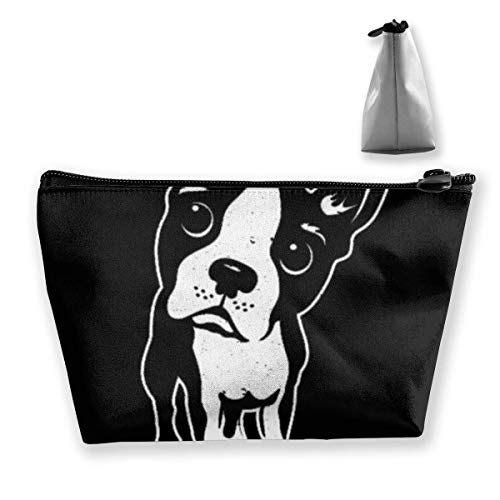 Boston Terrier Dog Trapezoid Travel Cosmetic Storage Pouch Pochette