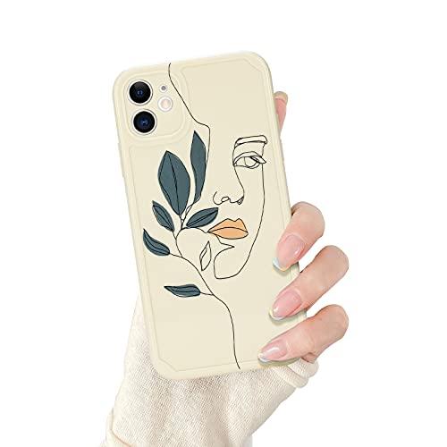 Newseego Funda Compatible con iPhone 11, Carcasa Protectora Antigolpes con Parachoques de TPU Silicona Suave Cover para iPhone 11 Diseño de Arte de Cara de Línea Case de Telefono para iPhone 11-Hoja