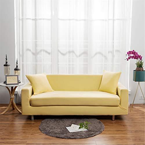Tapa de sofá de estiramiento 1/2/3/4 Seaver Cubiertas de sofá de poliéster elástico universal Sofá instalado para el protector de los muebles de Loveseat & Couch,Amarillo,3seater