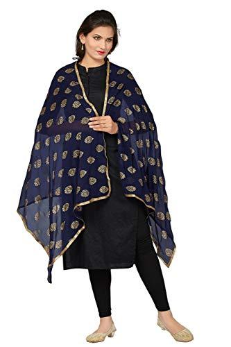 VintFlea Indischer Designer bedruckter Damen Chiffon Dupatta Gr. One size, marineblau