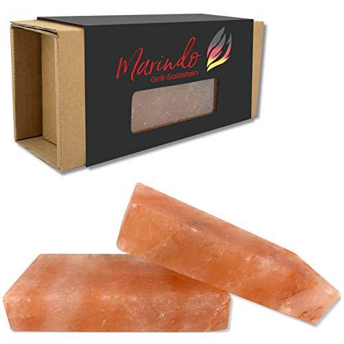 Marindo® BBQ Grill Salzstein XL | Salzstein zum Grillen | 2er Set | extra dick: 20x10x4cm | reinstes Kristallsalz | Salzplanke | Salzblock für fantastisches Grillerlebnis