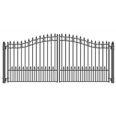 ALEKO DG14STPD St. Petersburg Style Dual Swing Galvanized Steel Driveway Security Gate 14 x 6 Feet Black