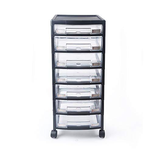 Lwieui Archivo Oficina del Gabinete Archiveros Verticales de plástico cajones Organizador 7 cajón de presentación Gabinete de Almacenamiento Multifuncional Archivadores móviles ✅