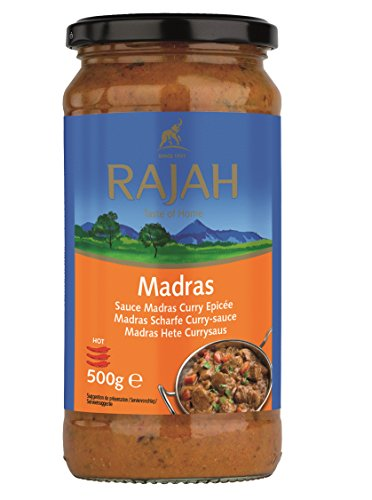 MADRAS Scharfe Curry Sauce mit Tomaten, Zwiebeln, Chili RAJAH 500g