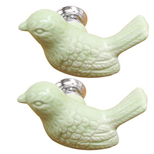 CLISPEED Keramik Griffe Türgriffe Vogel Form Schubladenknöpfe Kommodenknöpfe Möbelknöpfe Schranktürknöpfe Möbelknauf Griff für Kinderzimmer Schlaffzimmer Dekoration Grün 2 Stück