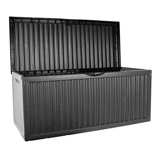 Mendler KISSENBOX Gartentruhe Truhe Gartenbox|330L|120x52x54cm|Kunststoff|anthrazit