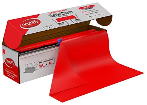 Neatiffy 137.2 cm x 32.9 m Rollo De Mantel De Plástico Desechable Con Cortador, Fiesta / Picnic / Banquetes Cubierta De Mesa Para Rectángulo, Ovalado, Mesas Redondas, Rojo
