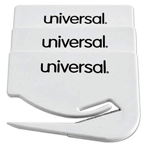Preisvergleich Produktbild Universal UNV31803 Stahl Brieföffner - Brieföffner (Stahl,  Kunststoff,  6,4 cm,  weiß,  3 Stück)