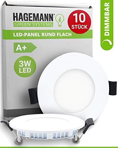 HAGEMANN® 10 x LED Einbauleuchte dimmbar 3 Watt 255lm – Ø 68 mm Bohrloch – 230V LED Panel rund flach