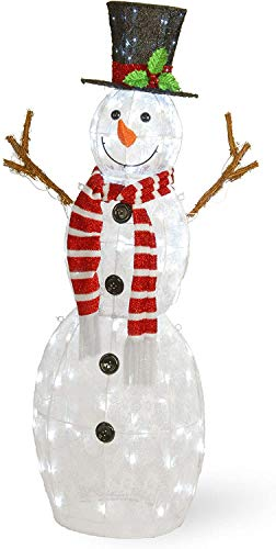 National Tree Company Artificial Christmas Décor   Includes Pre-strung White Lights and Ground Stakes   Snowman – 4 ft