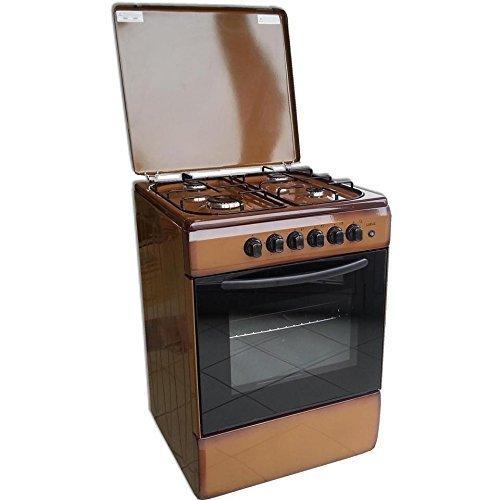 Cucina a libera installazione LAREL 60x60 MARRONE con forno a gas metano o gpl e grill elettrico 4 fuochi VALVOLATI