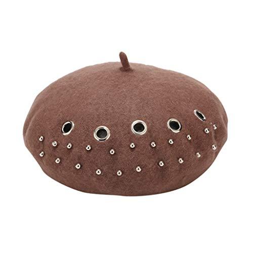 Fghyh Damen Perlendekoration Baskenmütze Französisch Stil Maler Hut Mütze Vintage Warm Party Top Hut(Kaffee)