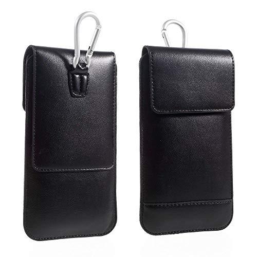 DFVmobile - Gürtel-Fall-Abdeckung Etui Hülle Vertikale mit Doppeltasche für Huawei Ascend D2 D2-0082 (2013) - Schwarz - 9