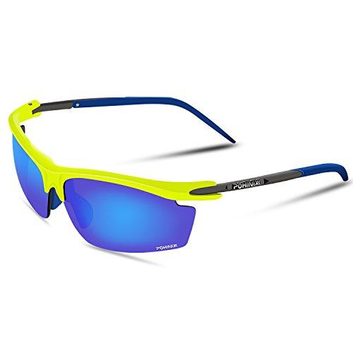 POHINIX deportes Ciclismo Running gafas de sol polarizadas UV400gafas de protección para los hombres y las mujeres en ciclismo esquí pesca Golf, Fluorescent Yellow-Blue