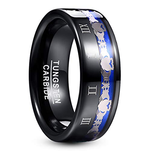 TUNGSTORY Schwarze Wolfram Ringe Herren 8mm Irish Claddagh Hochzeitstag Ringe mit römischer Nummer Größe 59 (18.8)