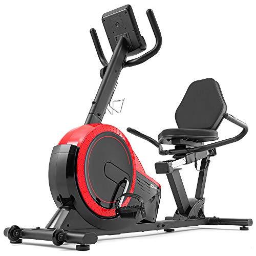 Hop-Sport Liegeergometer HS-060L - Liegeheimtrainer mit Handpulssensoren, 15 kg Schwungmasse, 8 Widerstandsstufen - Sitzergometer für Senioren max. Benutzergewicht 130 kg rot