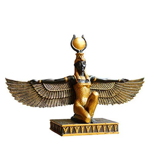 Pevfeciy Statue Ornament, Dekoration, Figuren Statue Der Ägyptischen Dekoration Statue Der Göttin Der Schönheit Statue Der Ägyptische Gott Isis Skulptur Terra Gott,Grün