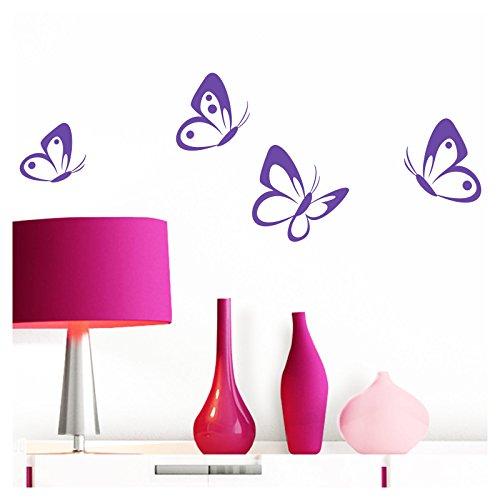 Grandora Wandtattoo 4er Set Schmetterlinge I Lavendel 8-10 cm I Baby Kinderzimmer selbstklebend Wand Aufkleber Wandaufkleber Wandsticker Sticker W697