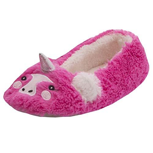Style It Up Damen Ballerina-Hausschuhe, Einhorn, magisches Horn, niedlich, weich, warm, flach, Hot Pink Einhorn - Größe: 36/37 EU