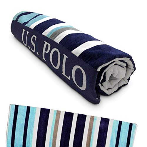 """U.S. Polo Assn. Large (40"""" x 70"""") Striped Nautical Design Lofty Beach Towel - Perfect for Beach, Pool, Boating, Gym, Camping & Outdoor Yoga and Pilates (Sail Away Stripe)"""