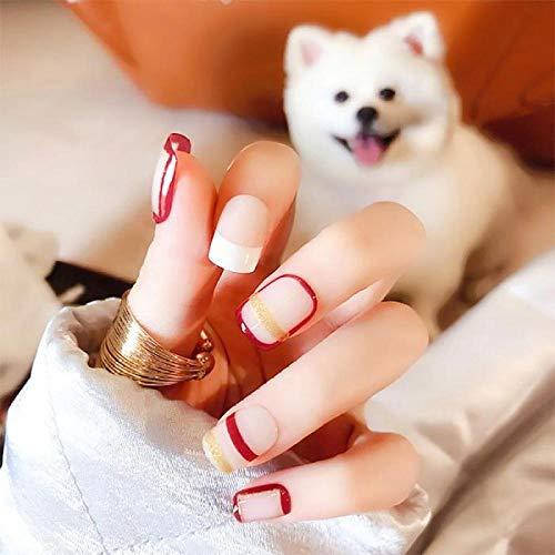 Faux ongles Mode Simple Pleine Couverture Nail Art Conseils Bande Créative Brillant Artificiel Faux Ongles Filles Mignon Rose Couleur Faux Ongles