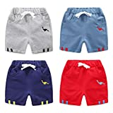 WINZIK Toddler Baby Boys Summer Shorts Cotton Casual Sport Pants Kids Elastic Waistband Short Pants with Pocket for 18M-7Y (2-3T, Dinosaur-Pack of 4)