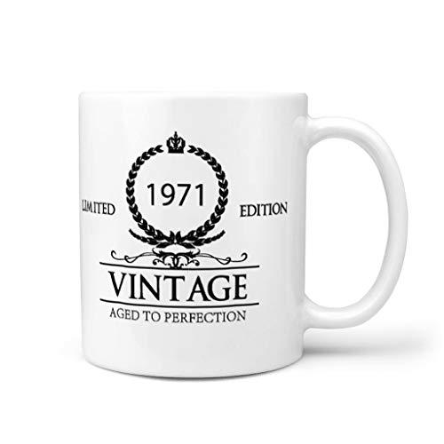 STELULI Taza de café 1971 de cerámica suave personalizada moderna - Copas de vino para regalo de cumpleaños blanco 11 oz