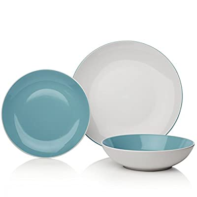 Sabichi Two Tone Dinner Set, White/Duck Egg, 12-Piece